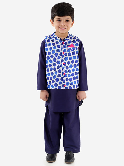 kurta pyjama with jacket set-Navy Blue