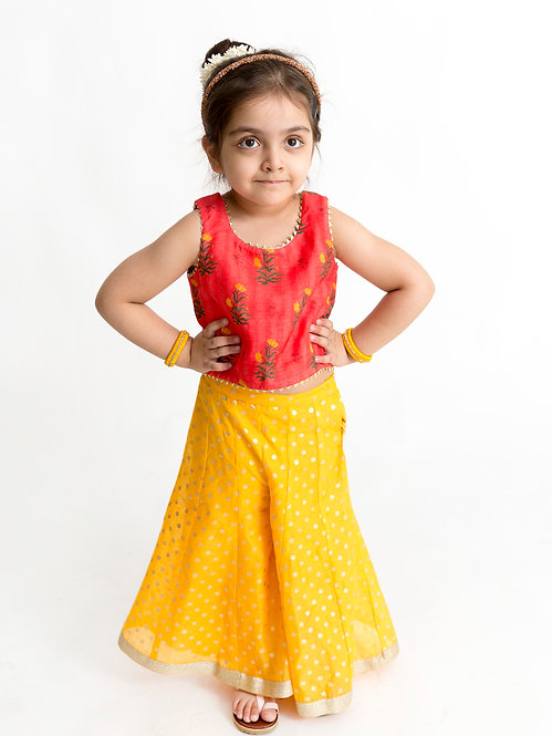 Girls Chanderi Print Top With Printed Palazzo-Yellow