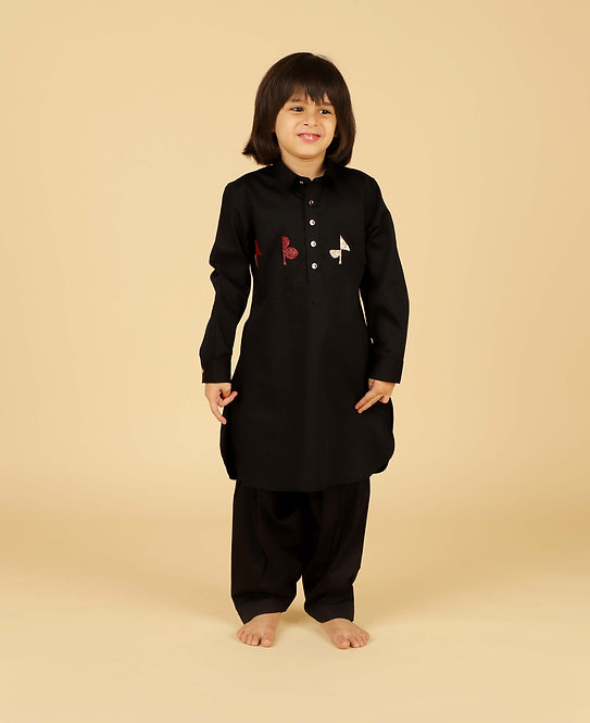 Black Pathani With Shalwar And Chest Embroidery