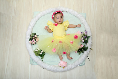 Yellow Romper with Tutu skirt and flowers
