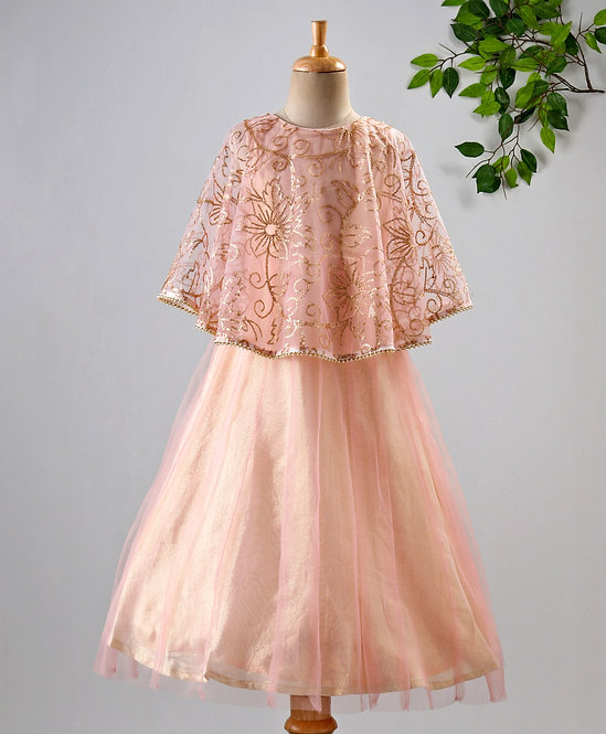 Girls Flared Party Gown With Cape In Embroidered Net With Lace-Pink