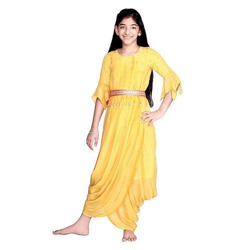 Papaya Dip Dhoti Gown