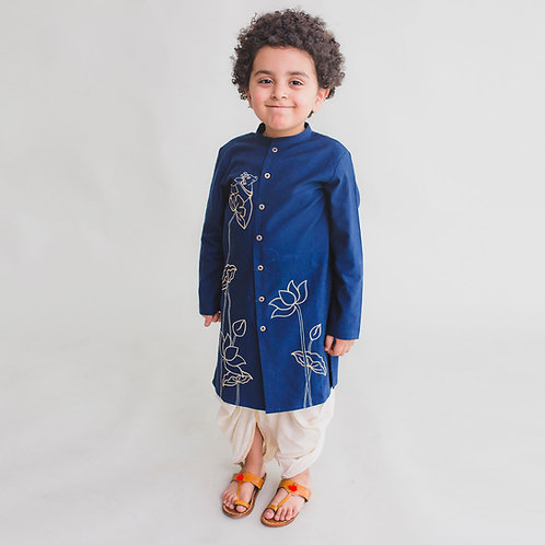 Boy Blue Kurta Dhoti Set Krishna Cow Bel