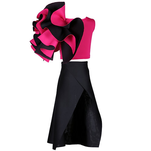 Ruffle Top With Black Slit Skirt