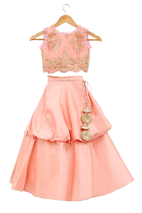 Peach and Gold Embroidered Top And Skirt