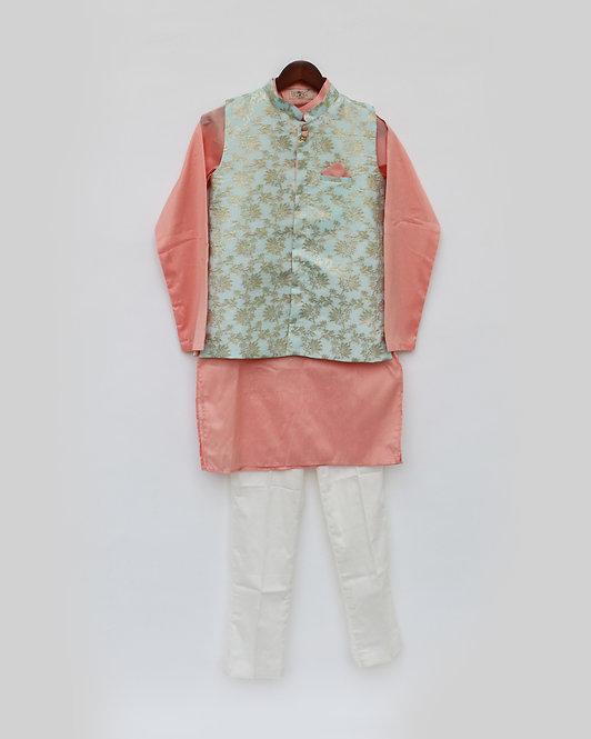 Blue Chanderi Jacket with Kurta and Pant