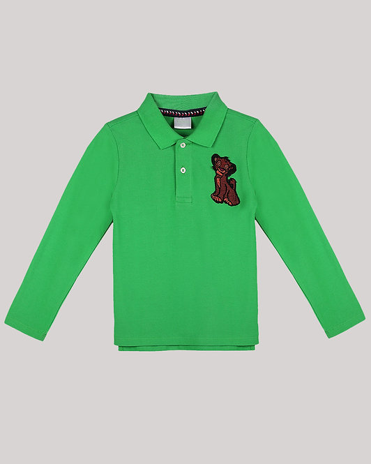 Green Full Sleeves Polo T-Shirt With Simbha Motif