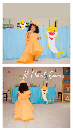 Mustard High Low Gown with Hair Accessory