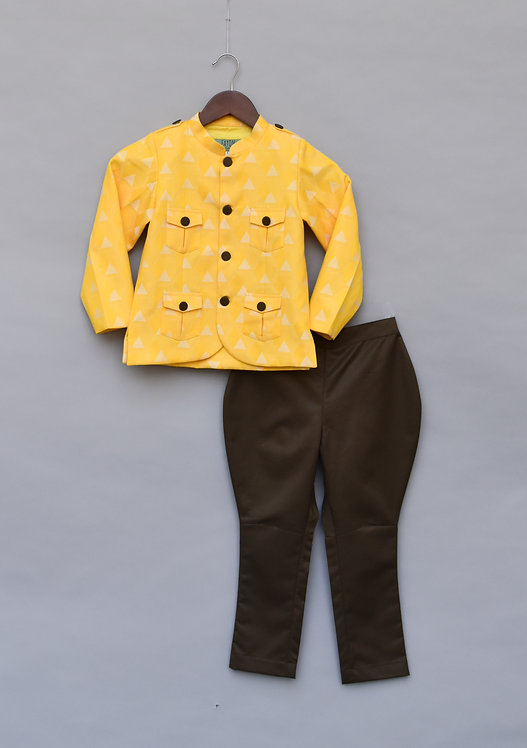 Yellow Printed Jacket with Brown Pant