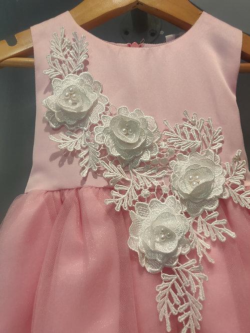 Pink Lace Flower Dress