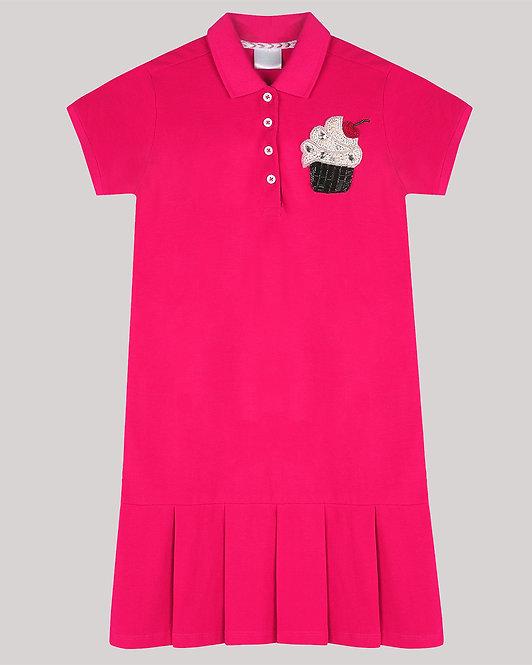 Polo Dress With Shy CupCake Motif