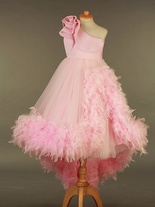 Pink  Feather Gown