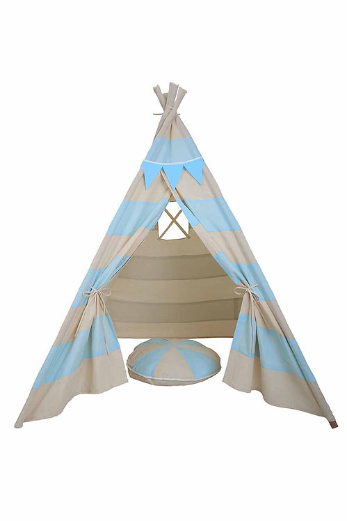 TLF BLUE STRIPED TEE PEE TENT WITH MATCHING BUNTING