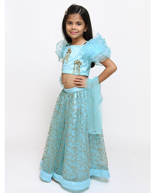 Blue Ruffled Top With Embroidered Lehenga