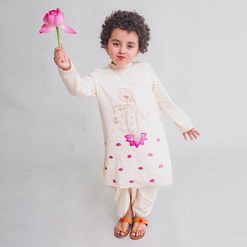 Boy White Kurta Dhoti Set Krishna Murli
