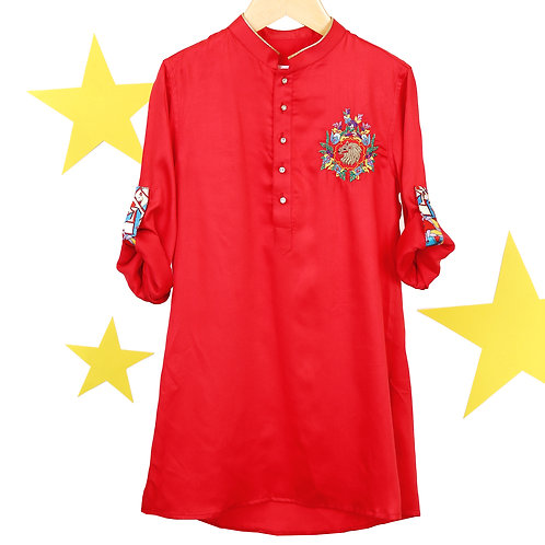 RS-Red Embroidered Satin Kurta Set