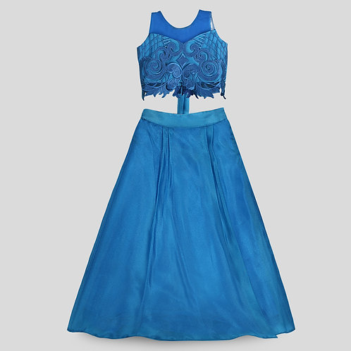 Cobalt Blue Embroidered Lace Blouse & Organza Skirt