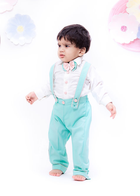 White Shirt with Suspenders and Acqua Pant