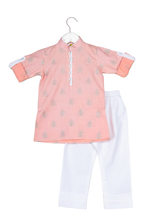 Booti Peach Embroidered kurta and pyjama set