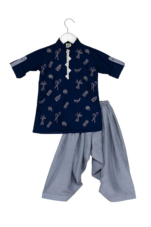Pataka Navy Embroidered kurta and patiala set
