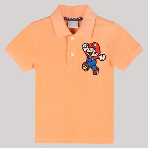 Boy Polo T-Shirt With Mario Bros.Hand Embroidred Motif