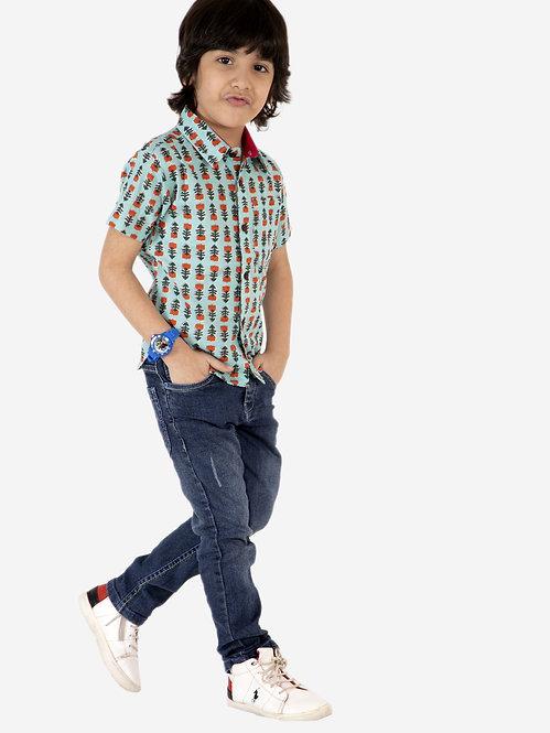 Boys Printed Shirt-Blue