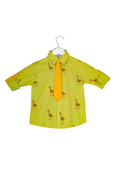 Bus Roll up shirt with tie Giraffe