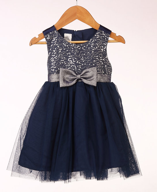 Sequins Bow Navy Dress