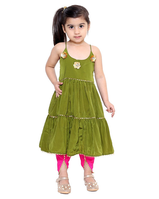 Olive Green Tiered Kurta With Pink Tulip Pants- Set Of Two