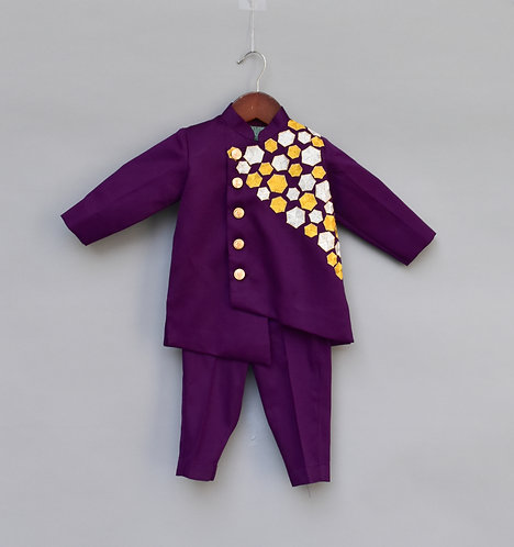 Purple Embroidery Ajkan with Pant