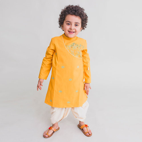 Boy Yellow Kurta Dhoti Set Krishna cow herd