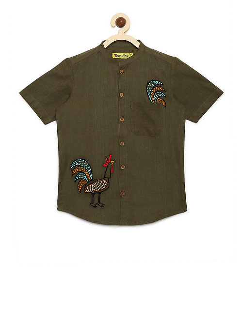 Boys Shirt Olive Rooster
