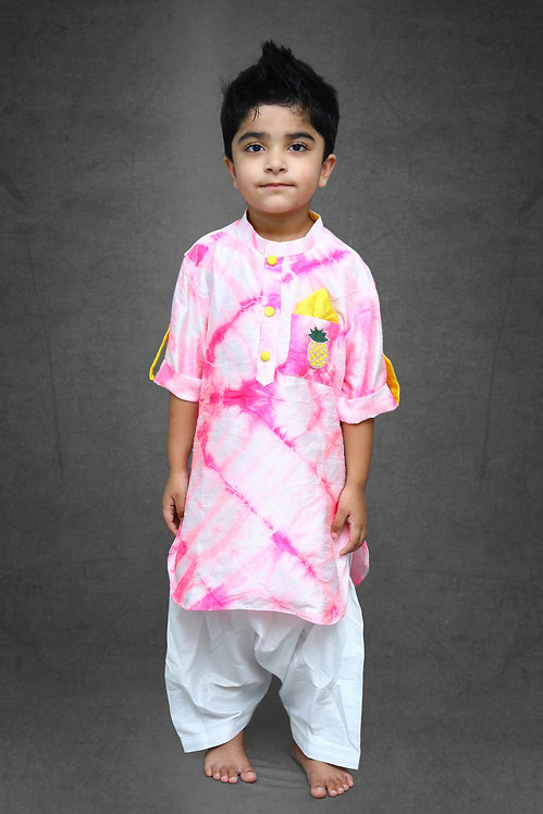 Tie and Dyed Apple cut Kurta with Patiala