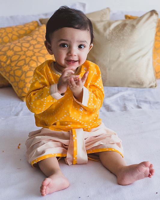 Baby Boy Yellow Bandhani dhoti kurta set