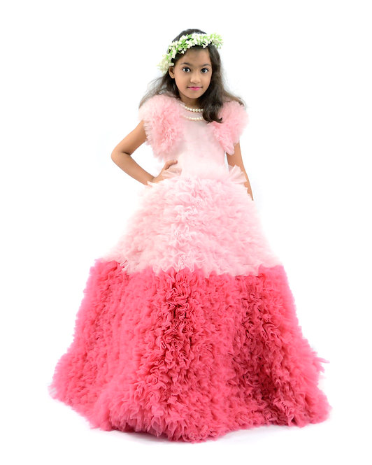 Pink Frill Gown