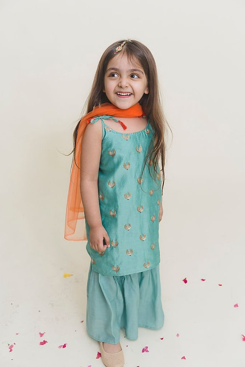 Aqua Blue Embroidered Kurta With Sharara - Set Of Two