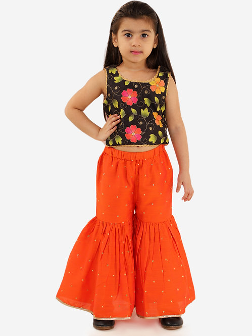 Girls Floral Print Top With Cut & Flare Palazzos Set-Orange