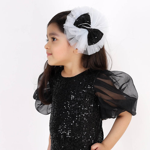 Light Blue Ruffle With Black Sequins Bow