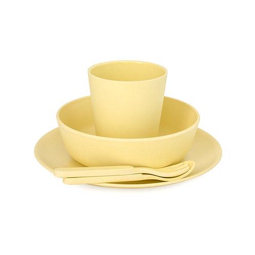 5 Piece Children's Bamboo Dinner Set - Sunshine Yellow