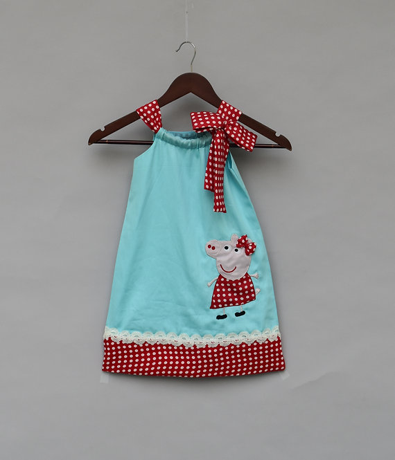 Blue & Red Polka Dot Dress