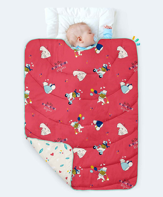 Rabitat Homed 100% Organic Cotton All Weather Quilt Bear Print - Red