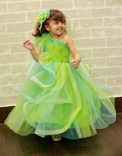 Blue Green Butterfly Gown