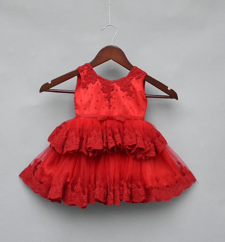 Red Embroidery Frock