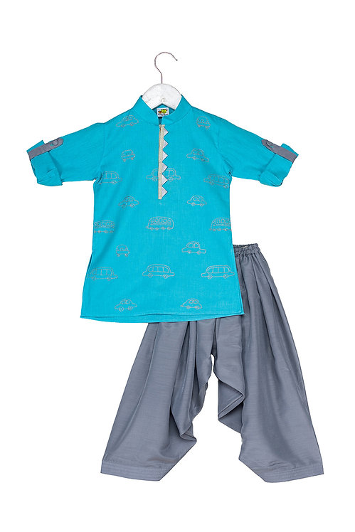 Transport Aqua Embroidered kurta and patiala set