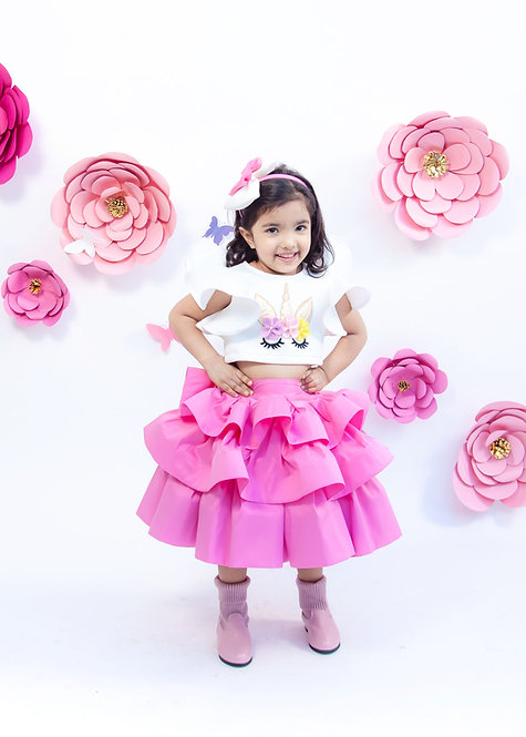 Off White Unicorn Top with Pink Skirt