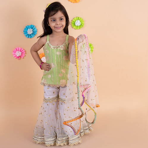 Parrot green golden lotus top with white embroidered sharara dupatta set