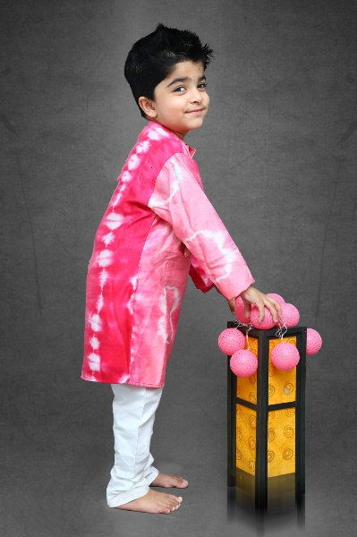 Tie and Dyed different cut Kurta with off white chudidar