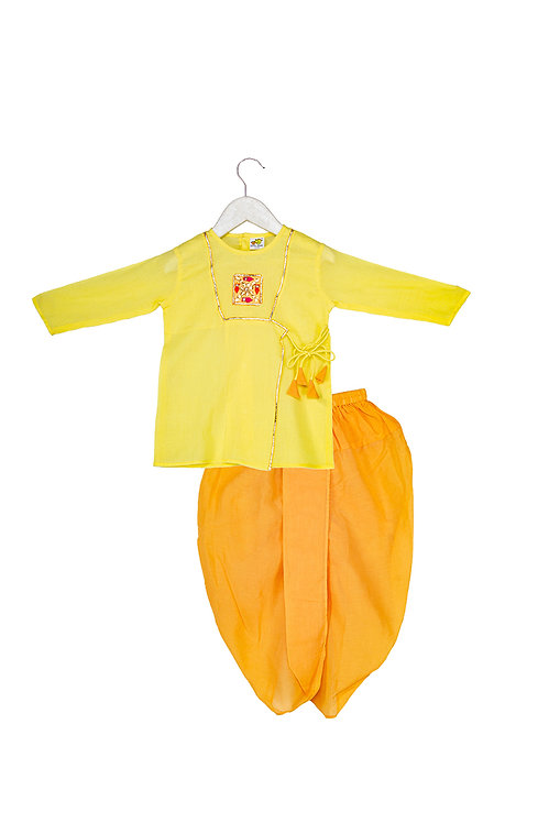 Gota Motif kurta dhoti set Nb Yellow
