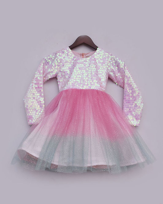 Pastel Pink Sequence and Glitter net Frock