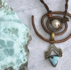 Larimar, Pearl, Spiral,Necklace.jpg